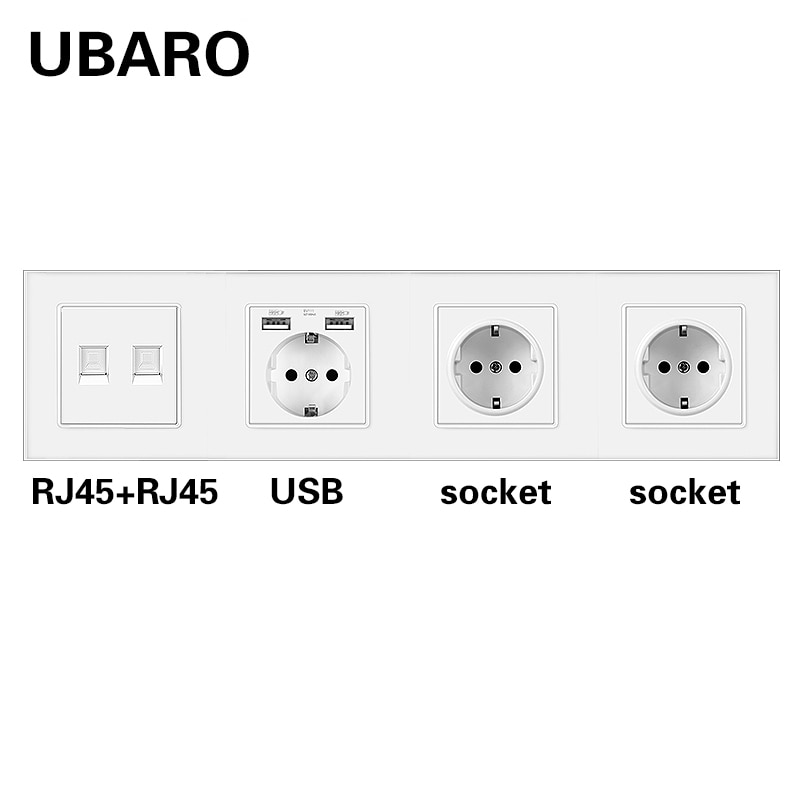 UBARO German Standard Tempered Crystal Glass Panel Wall Socket RJ45 RJ11 TV Weak Current Combination Home Outlet AC110-250V 16A