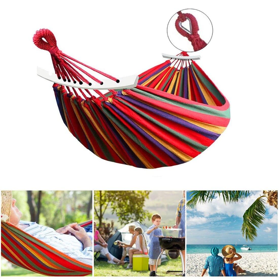 Гамак для кемпинга, уличный гамак, садовые качели-качели для путешествий, кемпинга, холщовая подвесная кровать в полоску, мягкое кресло-подв...