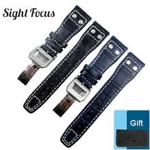 Dark Blue Strap for IWC Watch Band Deployment Buckle Deployant Clasp Pilot Watch Belt Bracelets Rive
