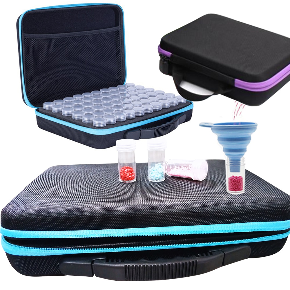 15/30/60/120 Bottles Diamond Painting Box Tool Container Storage Box Carry Case Holder Hand Bag Zipp