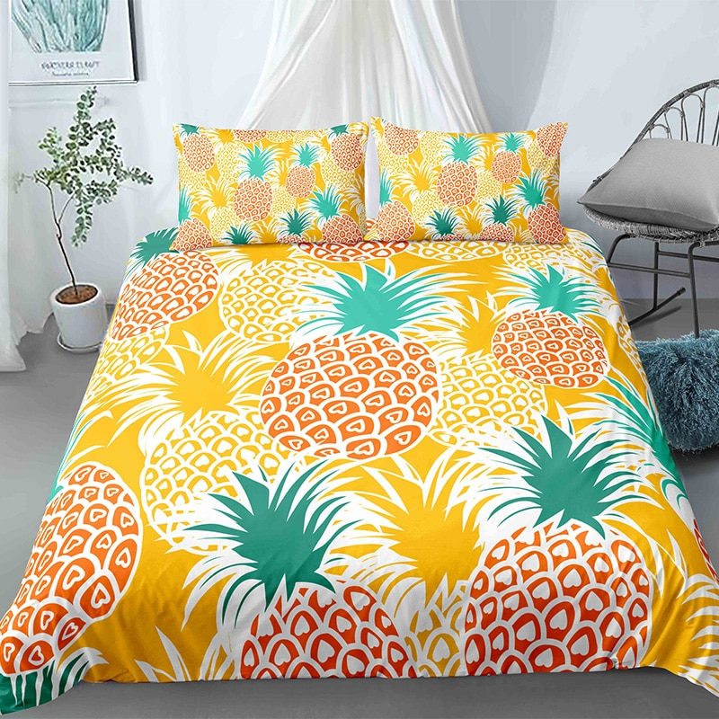 3D Bedding Set Fruits Pinapple Printed Duvet Cover Sets Comforter Covers Soft Fabric King Queen Drop Shipping