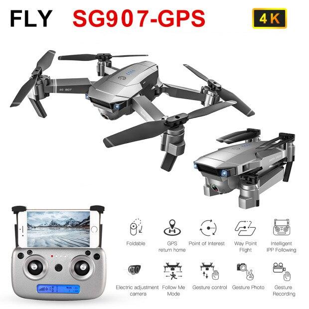Zangão dobrável de wifi 5g fpv do braço rc quadcopter rtf zangão de gps do zangão da câmera de sg907 4 k com câmera dupla de 4 k hd