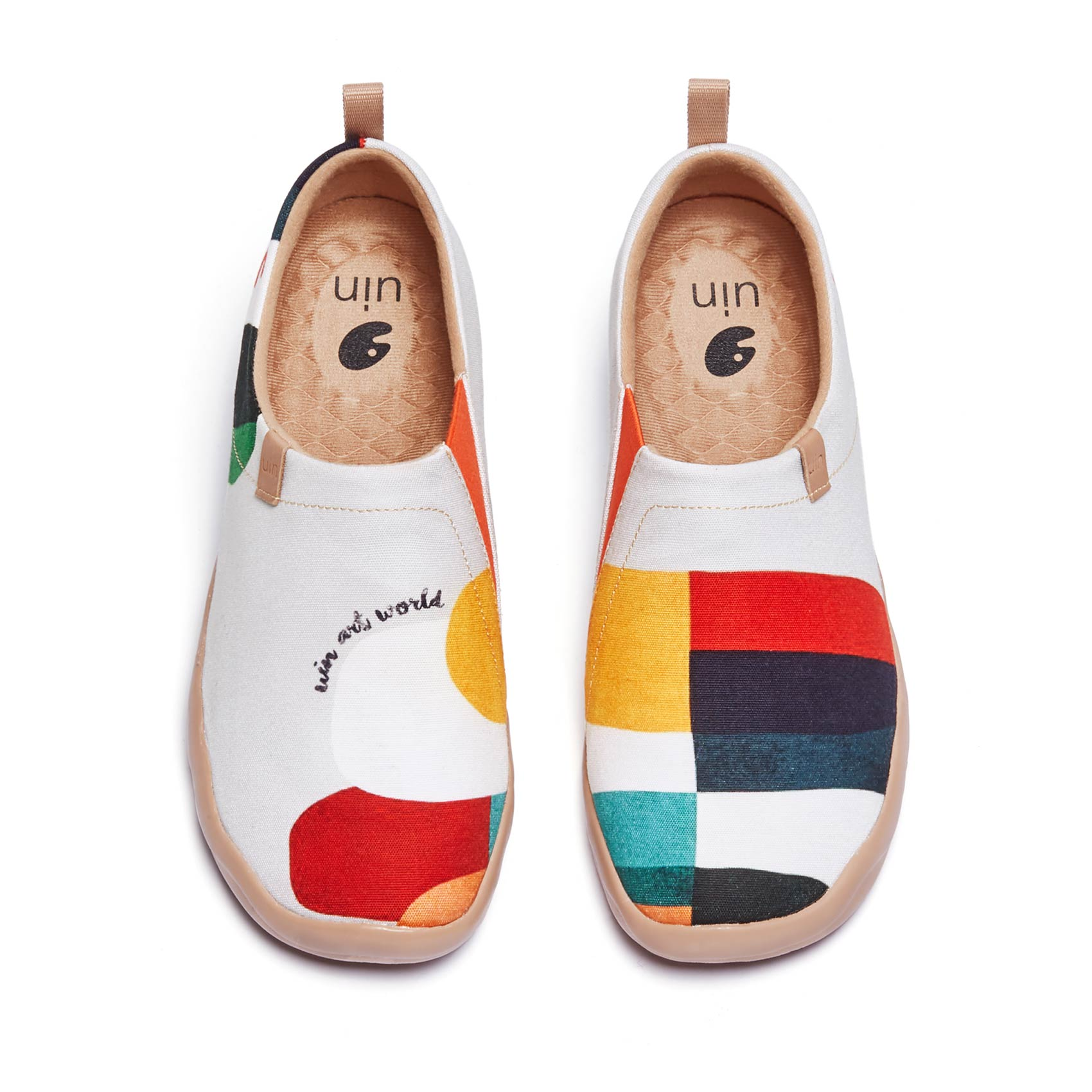 AliExpress - UIN Women's Slip Ons Canvas Lightweight Flats Sneakers Walking Casual Art Painted Travel Shoes Geometry