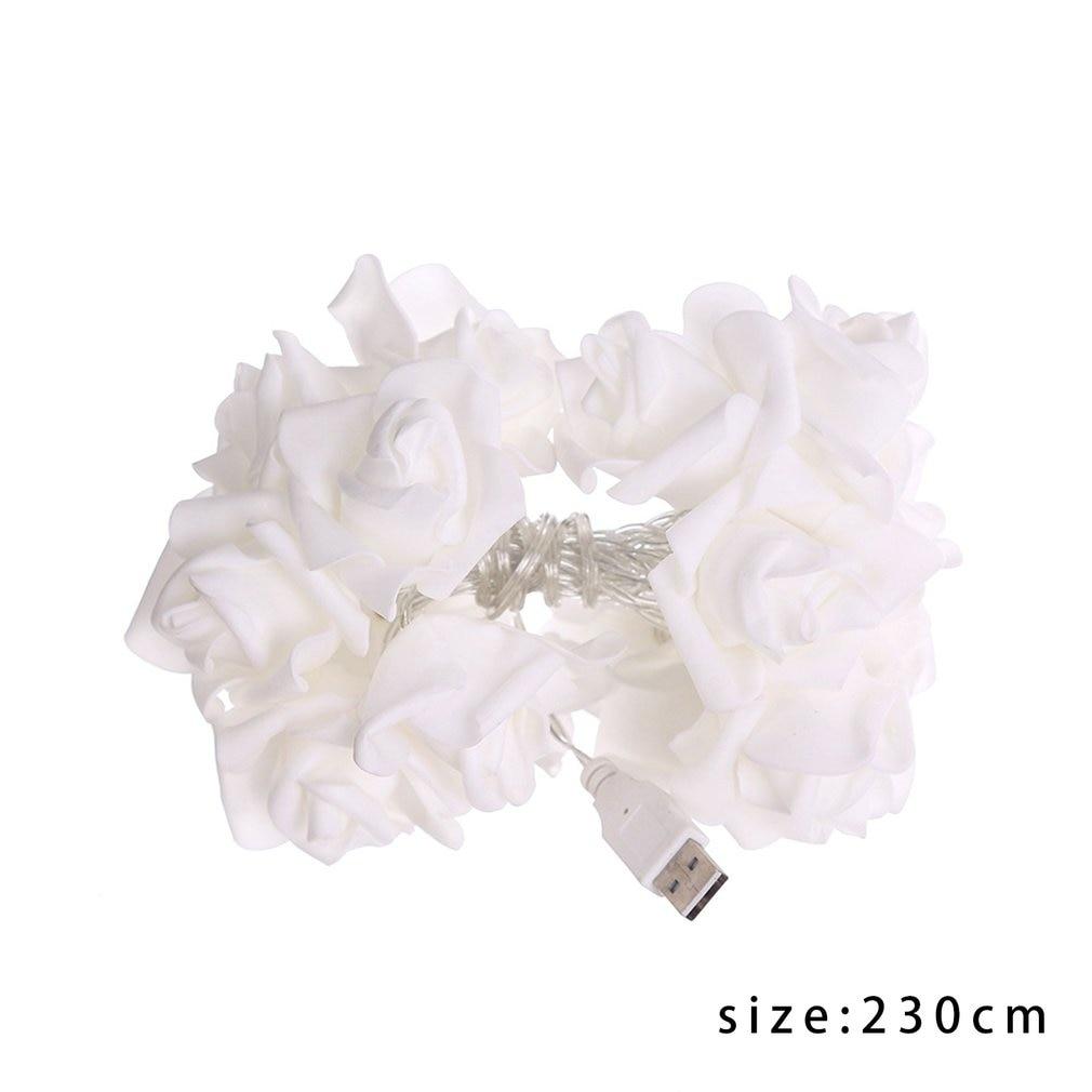 String Lights 20 Leds Acrylic Fur Balls Rose Flower Lamp For Indoor Outdoor Garden Christmas Party Lights Festival USB Charging