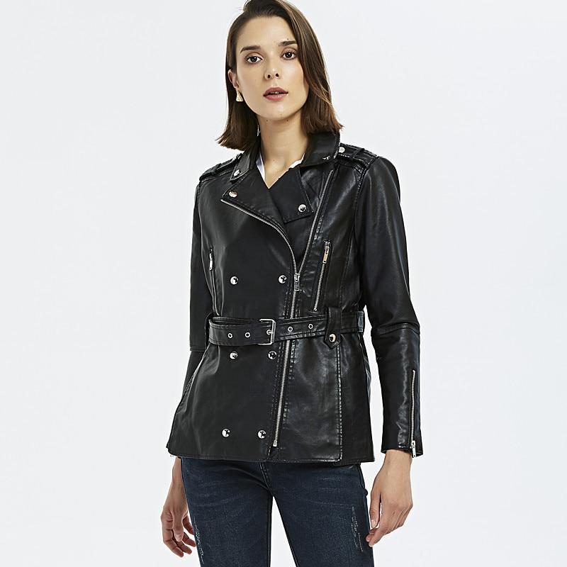 2019 new Female Leather Jacket occident PU Women Biker Jacket Slim double breasted long Faux Leather Coat with belt Black Jacket enlarge