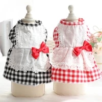 lovely pet dog red black lattice skirts 100cotton lace bow knot pet clothes puppy dogs dresses costumes outfits chihuahua teddy