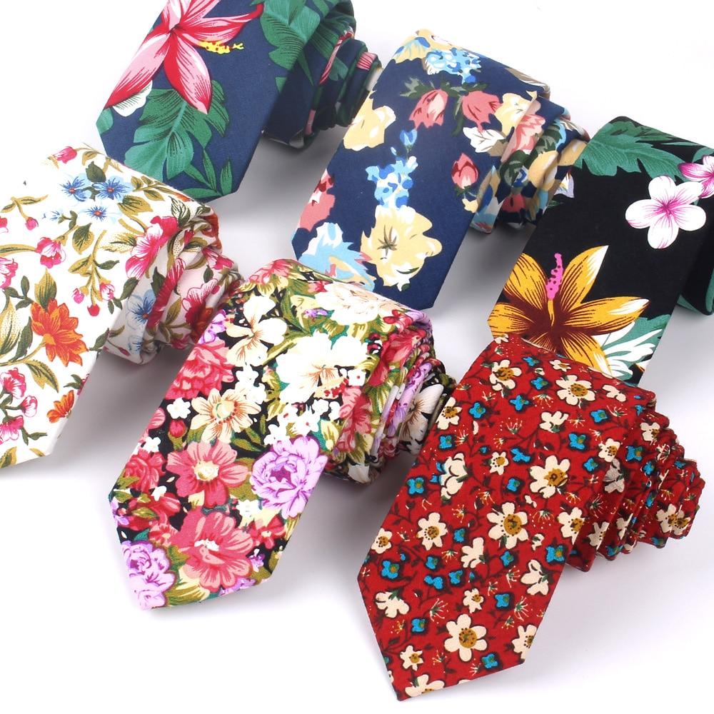 Floral Ties For Men Printed Cotton Tie Mens Ties 6cm Slim Neck Tie Skinny Necktie For Wedding Party недорого