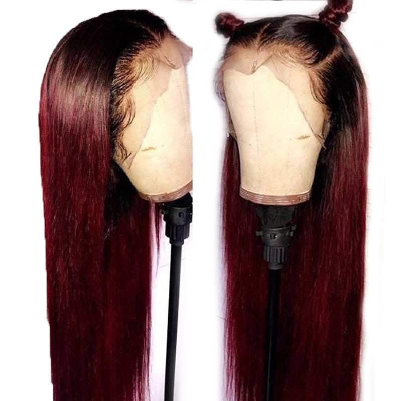 1b/99j em linha reta colorido perucas de cabelo humano 13*6 frente do laço perucas de cabelo humano brasileiro remy ombre borgonha 150% preplucked frente do laço