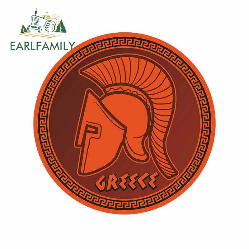 EARLFAMILY, 13cm x 12,8 cm, para casco griego espartano, Material de vinilo pegatina de adhesivos para coches y motocicletas de viaje a Grecia, adecuada para parachoques