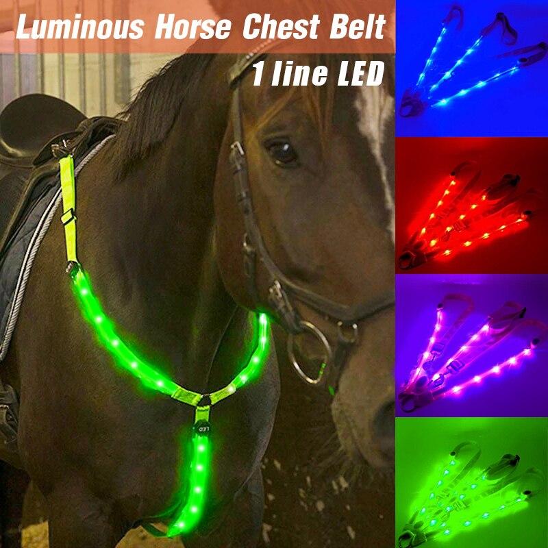 LED Horse Riding Belt Waterproof Nylon Horse Chest Belt Night Visible Breastplate Equitation Lighting Equestrian Equipment