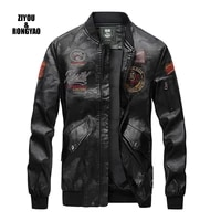 2020 mens leather jackets european and american pilots biker leather jackets young men with wool leather mens coat causue