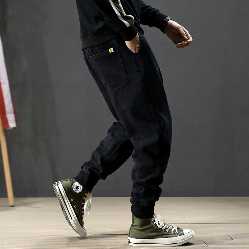 Japanese Style Fashion Men Jeans Spliced Designer Black Color Cargo Pants Harem Jeans Homme Streetwear Hip Hop Jeans Men Joggers