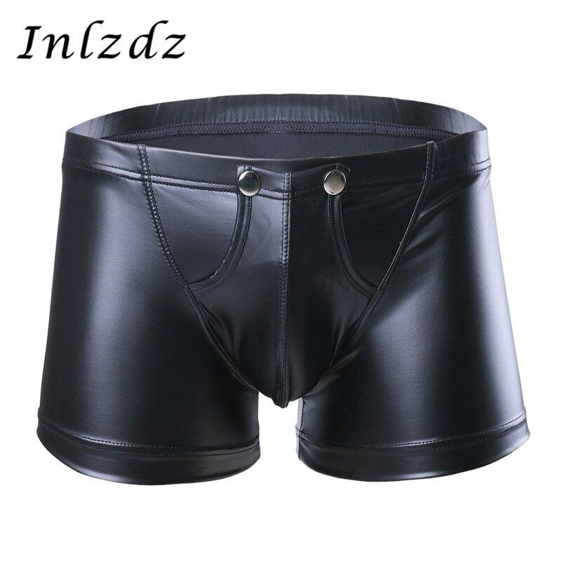Hot Sexy Männer Höschen Dessous Unterwäsche Faux Leder Lkw Shorts Exotische Unterhosen Drücken Sie Taste mit Ausbuchtung Beutel Männlichen Höschen