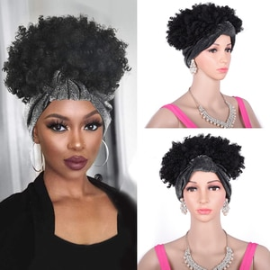 Short High Afro Puff Kinky Curly Drawstring Ponytail Headwrap Turban Wig for Black Women African American Updo Chignon