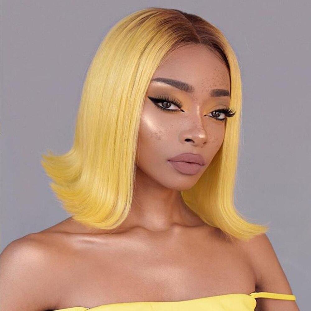 Pelucas de pelo humano de encaje corto liso amarillo, pelucas Bob para mujeres negras, peluca de encaje de parte media brasileña