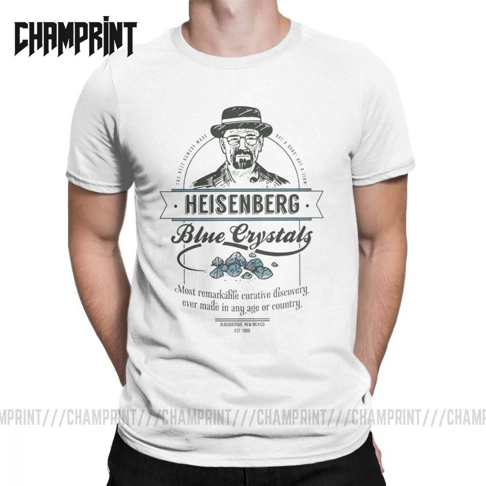 Azul cristais remédio t camisa para homem algodão legal camiseta crewneck heisenberg walter branco quebrando camisetas ruins topos tamanhos grandes
