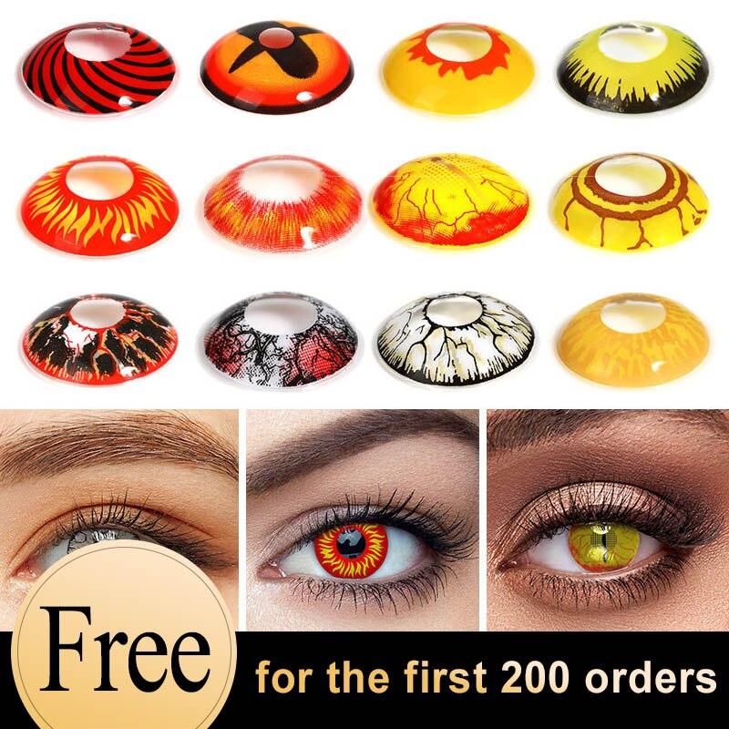 Цветные контактные линзы для косплея аниме, контактные линзы для Хэллоуина, Рива, фестиваля, цветные линзы для глаз