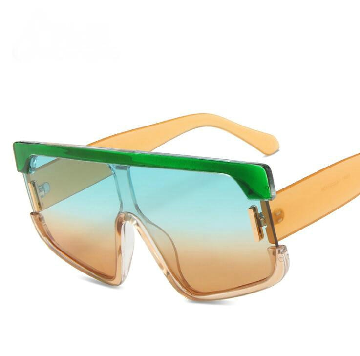 New Shield Sunglasses Men Women Fashion Color Lens Big Frame High Quality Rectangle Brand Designer S