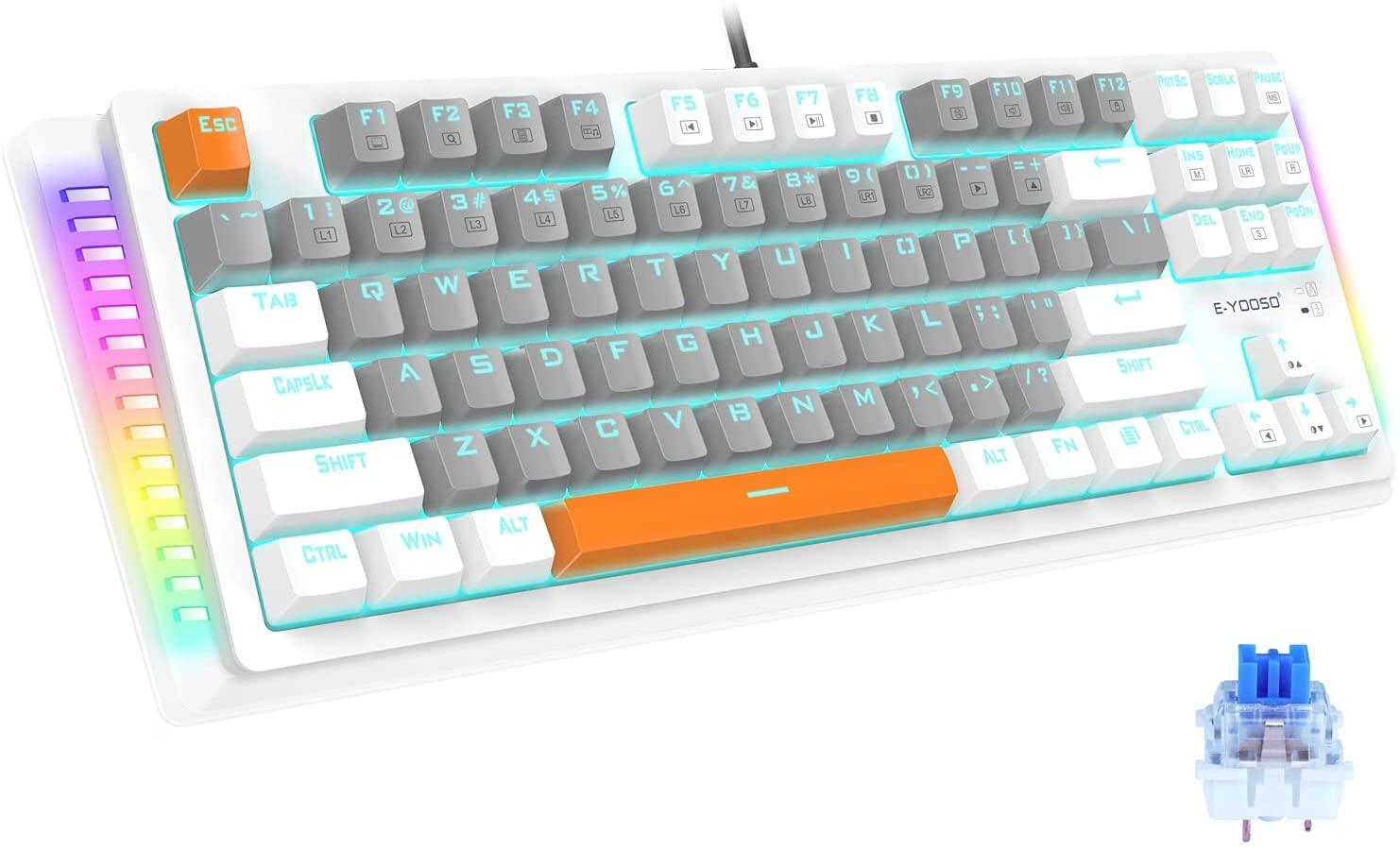 Механическая игровая клавиатура, стандартная Проводная Механическая клавиатура с синими переключателями, игровая клавиатура с 87 клавишам...