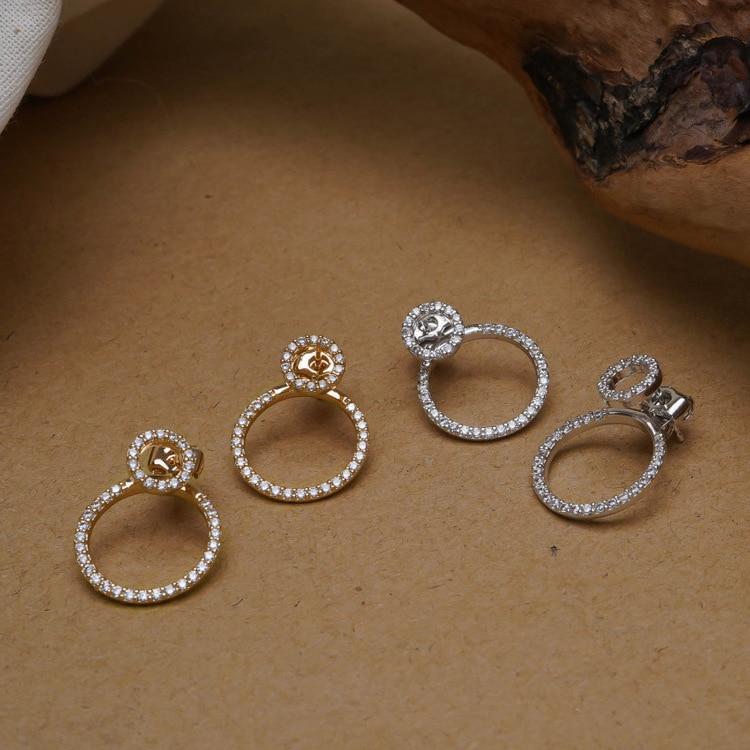 Uhani z žvečilnimi prstani iz cirkona in mikro tlakovcev za ženske - Modni nakit - Fotografija 2