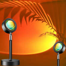Проекционная лампа С закатом, светодиодсветильник лампа, атмосфера, радужная лампа для спальни, прямой трансляции, пульт дистанционного уп...