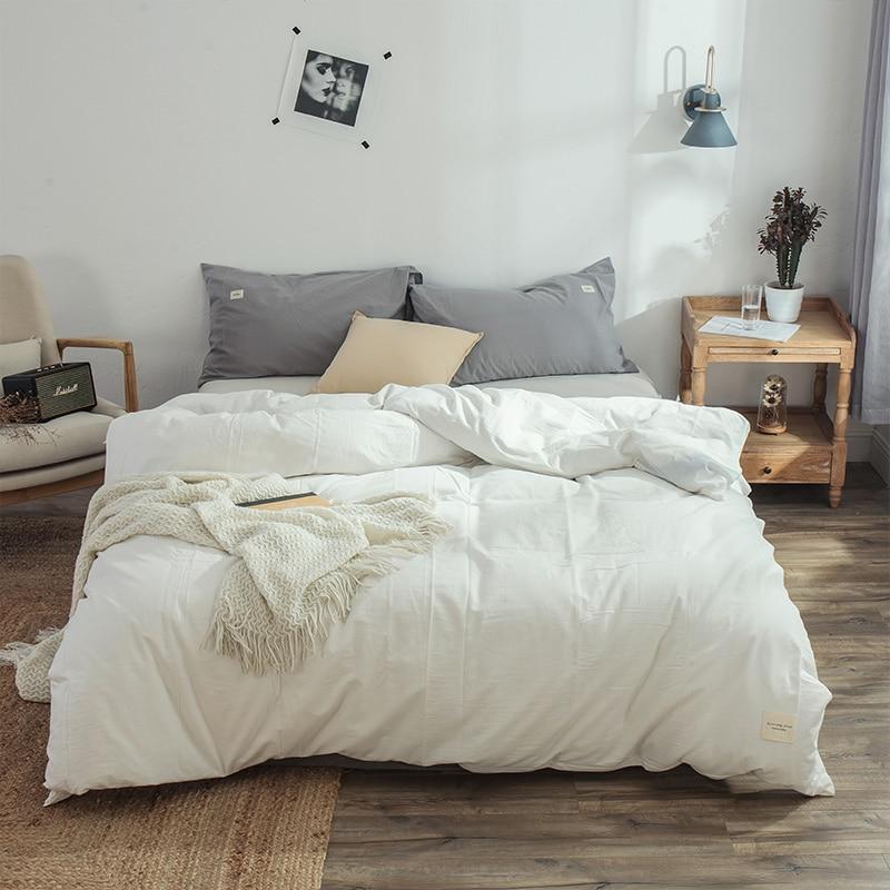 غطاء لحاف من القطن المغسول 100% ، طقم سرير ناعم ، سهولة العناية ، نمط بسيط ، متعدد الألوان ، أبيض وأرجواني