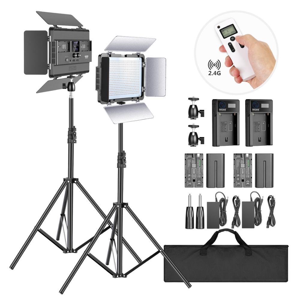 Neewer-لوحة إضاءة استوديو الصور LED ، مجموعة إضاءة الكاميرا مع حامل ، ثنائي اللون ، 600 CRI 96 ، شاشة LCD ، إضاءة فيديو