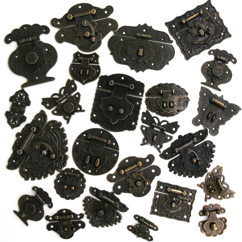 1x Antique Bronze Hasp Vintage Decorative Latch Jewelry Wooden Box Buckle Pad Chest Lock Cabinet Buc