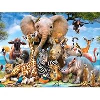 Peinture de diamant carre Animal decoration de maison  mosaique elephant broderie de diamant girafe Art perceuse complete