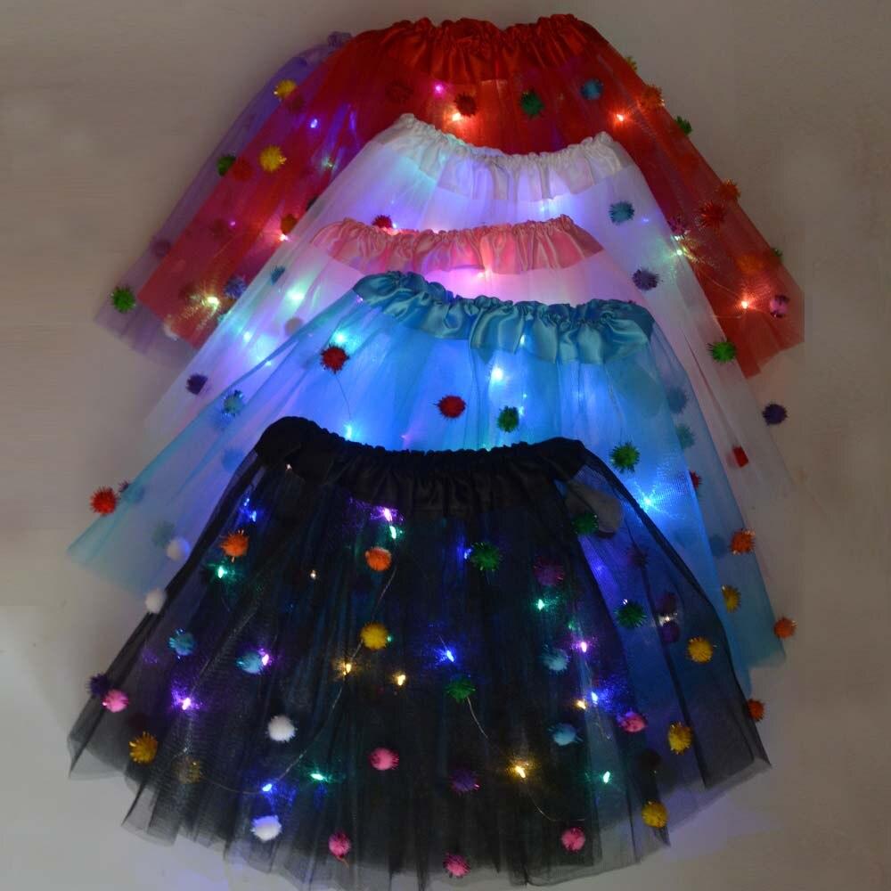 Falda de tutú LED para niñas y niñas, falda pequeña de tul y Ballet para niñas y niñas, traje de boda, cumpleaños, fiesta Led