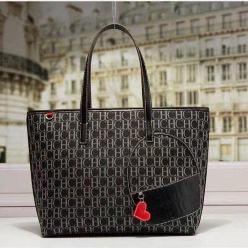 100% جلد طبيعي المرأة دلو حقيبة يد 2021 موضة جديدة الشهيرة مصمم العلامة التجارية CH طباعة شريط سعة كبيرة حقيبة يد للتسوق