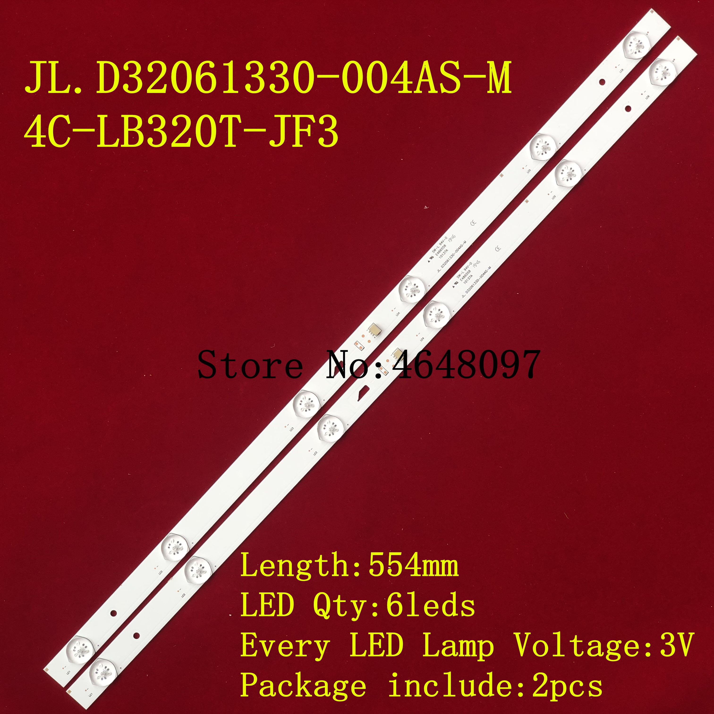 Set = 1 2 peças W32Sled Tela backlight para JL.D32061330-004AS-M 4C-LB320T-JF3 LVW320CSDX E13 V57 LVW320CSDX