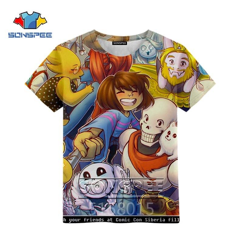 SONSPEE del Anime Undertale Harajuku impresión 3D niños niñas adolescentes ropa camiseta de hip-hop unisex manga corta Camiseta top pullover X17c
