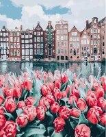 Gatyztoire     Kits de fleurs rouges par numeros  maison de riviere  huile  image par numeros  decoration de maison moderne  artisanat dart mural
