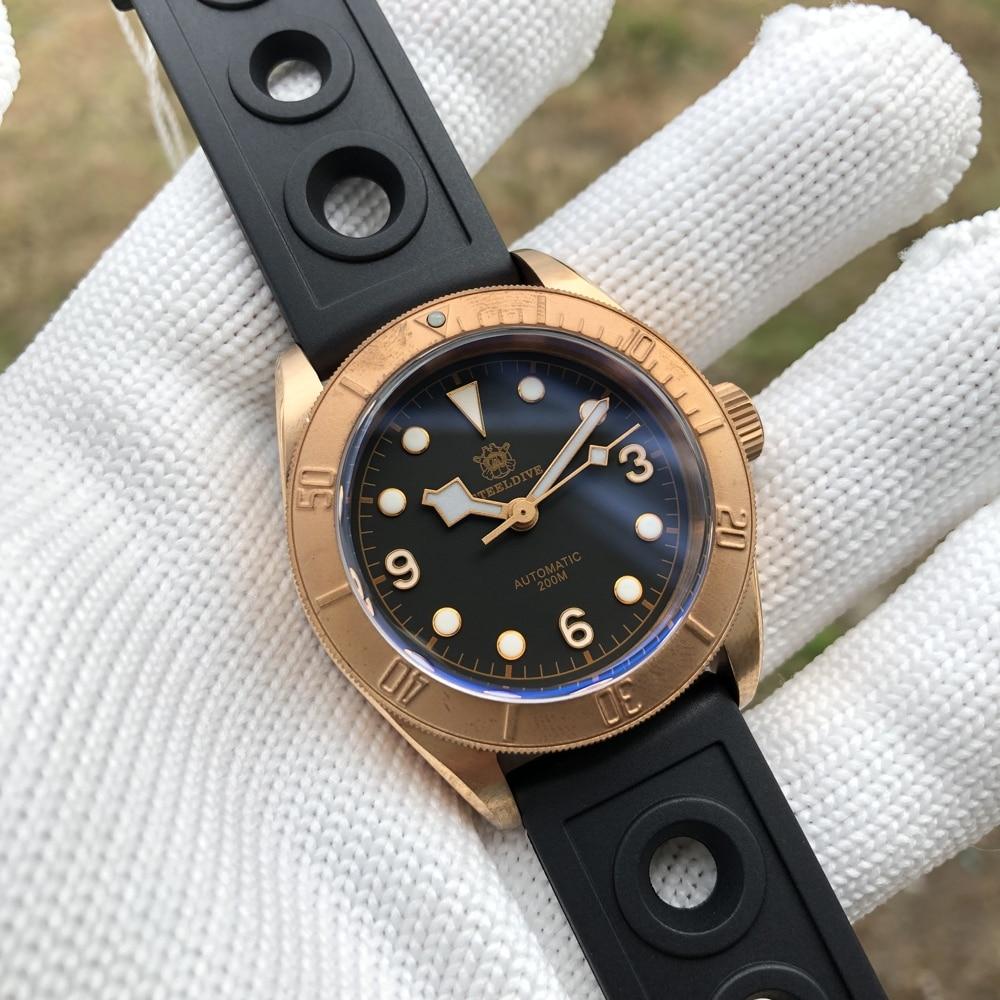 ساعة يد رجالي رقمية مضيئة C3 CUSN8 برونزية NH35 أوتوماتيكية 200 متر مقاومة للماء SD1958S