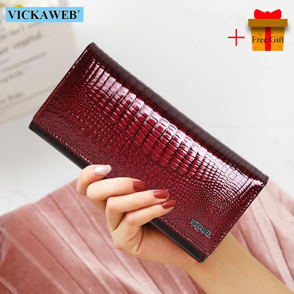 محفظة بمشبك مغناطيسي من الجلد الطبيعي للنساء ، محفظة طويلة عصرية ، حامل بطاقات ، هدية مجانية