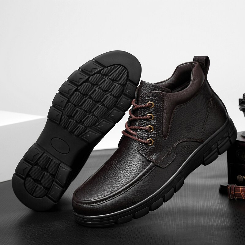 big size 48 Men Boots outdoor Winter Plush Fur Warm Snow Boots Men Sneakers Fashion Ankle Boots Casual Shoes botas hombre s5