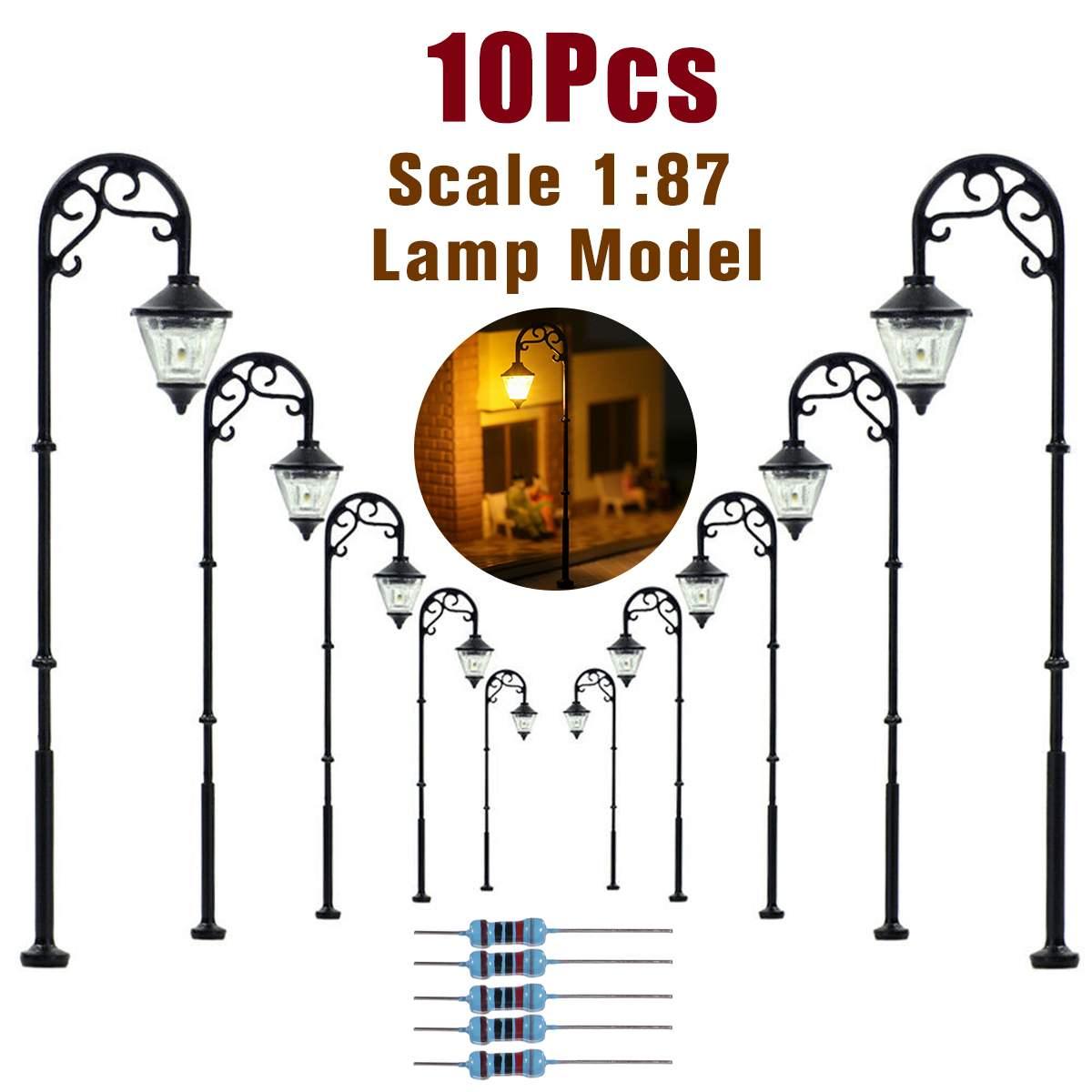 10 stücke 187 HO Skala Retro Modell Straße Lampe Layout Laternenpfahl Garten Landschaft Licht Eisenbahn Zug Lampe Micro Landschaft Decor