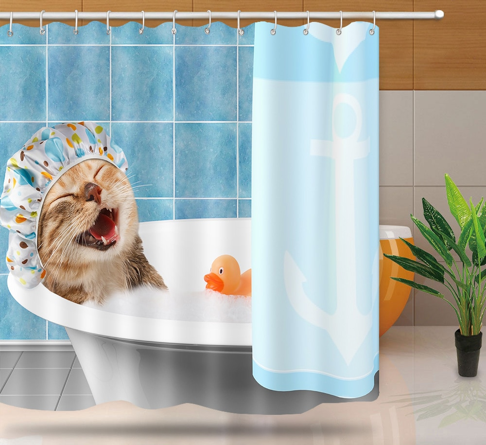 MTMETY Cute Cartoon high quality adventures of Unicorn and Cat Printed Shower Curtains Bath Products Bathroom Decor Waterproof