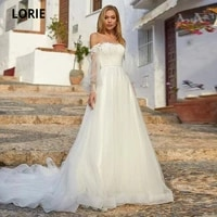 lorie gorgerous wedding dresses o neck appliques lace long sleeves button back tulle a line boho wedding brid gown suknia %c5%9blubna