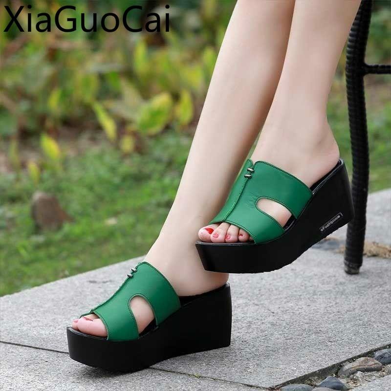 Peep Toe High Heels Women Wedges Slippers Fashion Pu Leather High-heeled Women Flip-flops Thick Heels Women Slippers