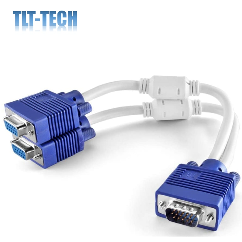 VGA Splitter Cable (1 Feet 0.3 Meters) 1 Male to 2 Female 15 Pin VGA Monitor Adapter Y Cable Cord Screen Duplication enlarge