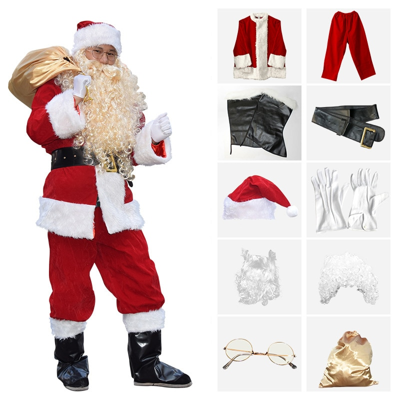 Full set Christmas Santa Claus Costume Cosplay  Clothes Fancy Dress In Christmas Men Costume Suit For Adults Keep warm newest christmas costume santa claus costume suit adult couple performance costume set outfit