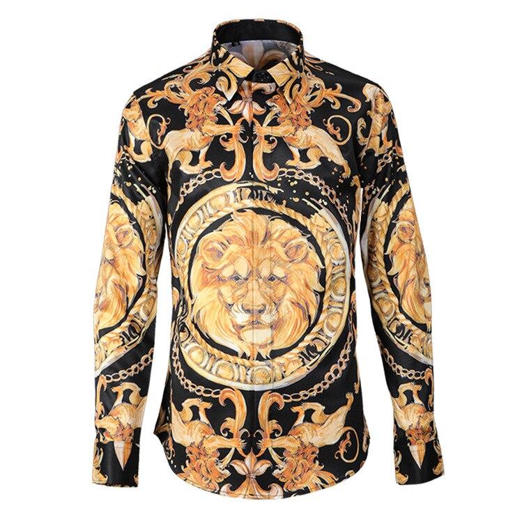 موضة جديدة عالية الجودة رئيس مستديرة الأسد الطباعة الرقمية الرجال قمصان عادية واحدة الصدر طويلة الأكمام حجم كبير M L XL2XL 3XL 4XL