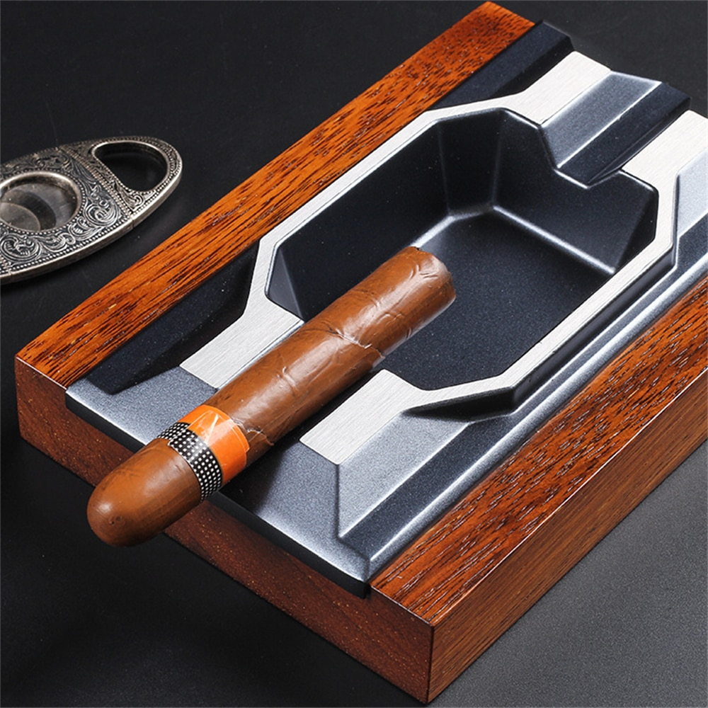 Solid Wood Cigar Ashtray Metal Smoking Tobacco Cigarette Ashtray High-grade Exquisite Creative Cigar Ashtray for Home Office enlarge