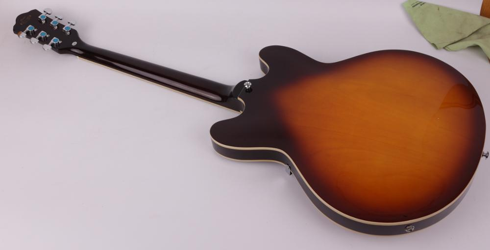 Good quality jazz hollow body f hole right sunburst hand electric guitar free shipping enlarge