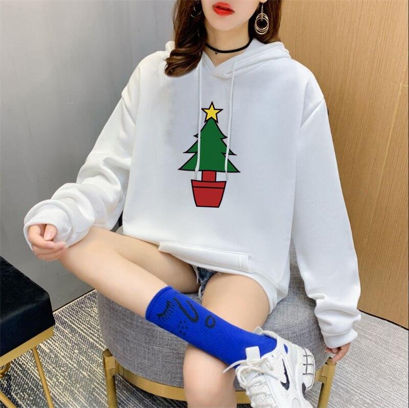 Женская толстовка с принтом рождественской елки, модная теплая флисовая женская толстовка с длинным рукавом и карманами, Толстовка Оверсай...