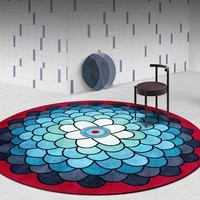 fashion gradient blue red round carpet non slip home rugs for bedroom ethnic style hanging basket chair area floor mat kids rug
