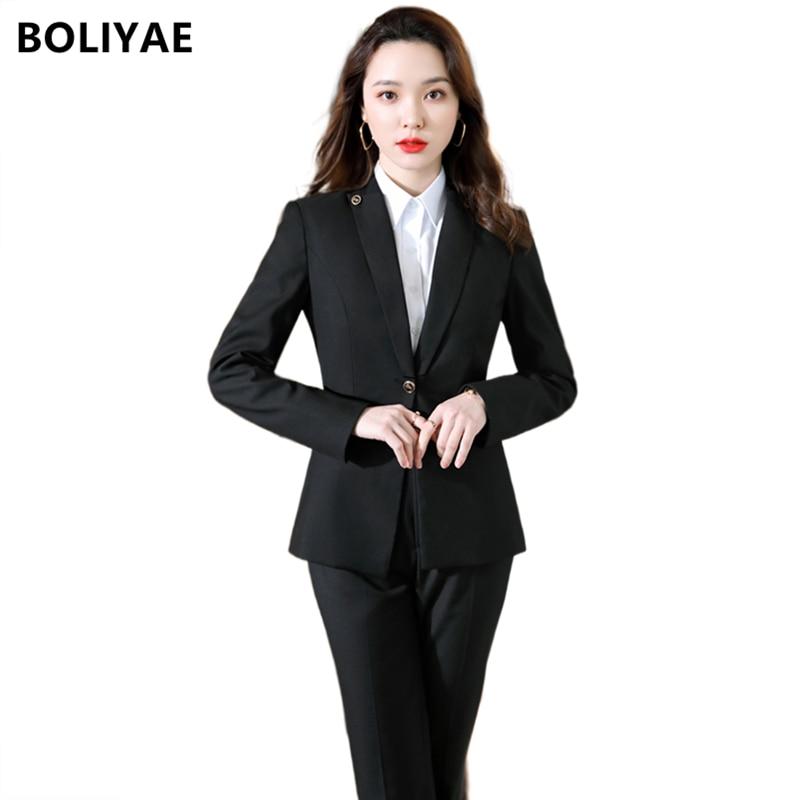 Модный Деловой брючный костюм Boliyae, Униформа, официальный однобортный пиджак, черный пиджак, Женская Офисная Рабочая одежда, костюмы из двух...