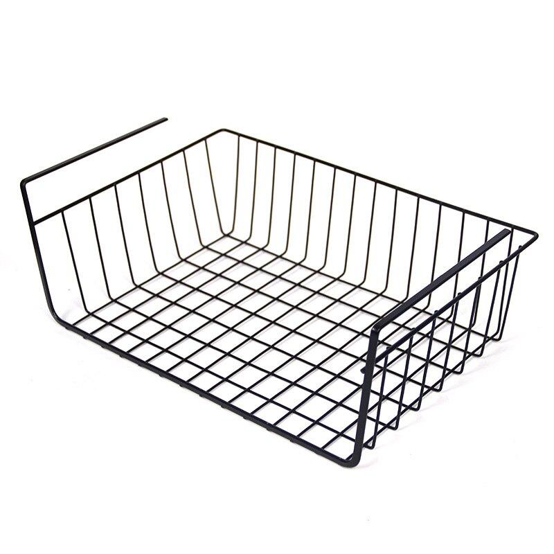 Cesta de hierro duradera, estante de almacenamiento, soporte de armario para mesas de ordenador